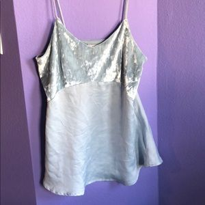 Light Blue Velour and crepe camisole
